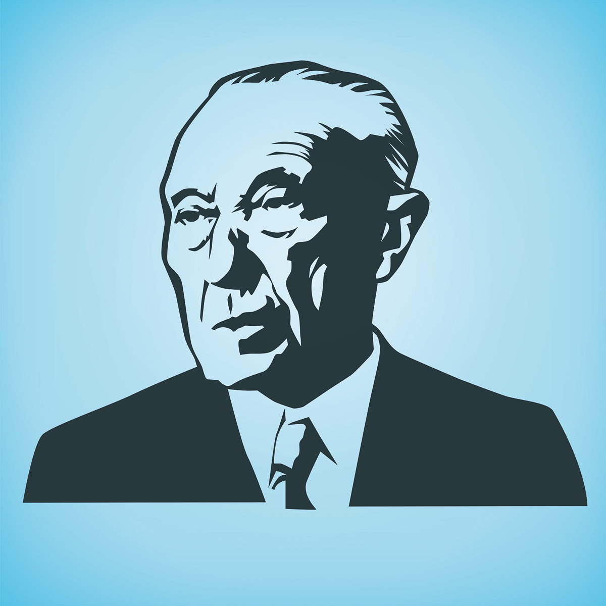 Bild Portrait Konrad Adenauer / Illustration